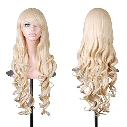 Wellenförmige Perücke gewellt Langes Haar Wig für Alltag Cosplay oder Schaufensterpuppen Karneval oder Mottoparties (blond, Modell 1) -