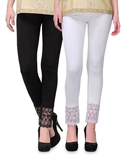 PI WORLD Women\'s Cotton Viscose Plazzo Legging Combo Black/White