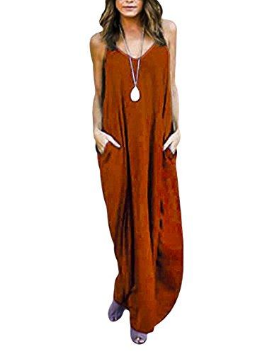 Yidarton Damen Kleider Strandkleid Maxikleid Loose Ärmellos Kleid  Langkleider Casual Sommerkleider (XXL, Orange) 852d5be94e