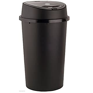 45 Liter 45L TOUCH BIN Colour Bin for Home Garden Office School Kitchen Bathroom Top Bin Portable Pedal Bin Removable Lid (Black)