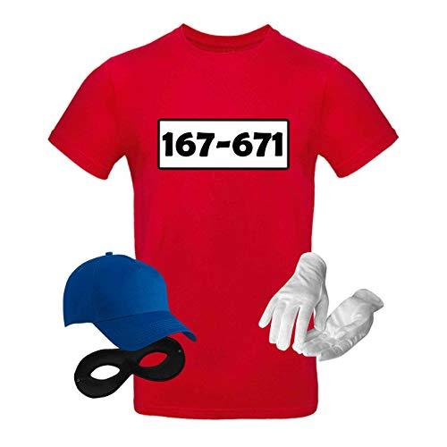 T-Shirt Panzerknacker Kostüm-Set Wunschnummer Cap Maske Karneval Herren XS - 5XL Fasching JGA Party Sitzung, Größe:4XL, Logo & Set:Standard-Nr./Set komplett (167-761/Shirt+Cap+Maske+Handschuhe)
