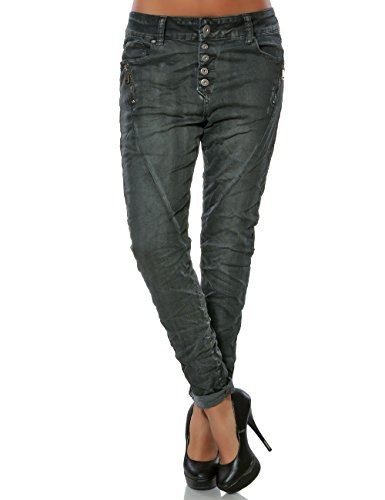 Damen Boyfriend Jeans Hose Reißverschluss Knopfleiste (weitere Farben) No 14242, Größe:M / 38, Farbe:Anthrazit