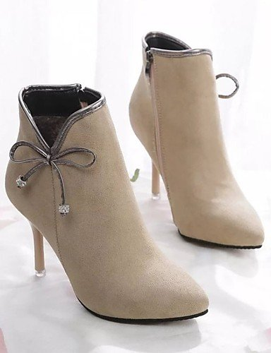 ShangYi Mode Frauen Schuhe Damen Stiefel Sommer / Herbst Spitze Zehe Synthetische and Stilettabsatz bowknot Schwarz / Beige Andere Schwarz