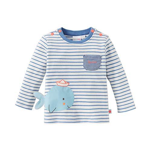 Wal-jumper (Bornino Seaside Shirt Langarm Wal - geringeltes Langarmshirt mit Wal-Print als 3D-Applikation, aufgesetzten Taschen & Druckknöpfen - Offwhite/blau)