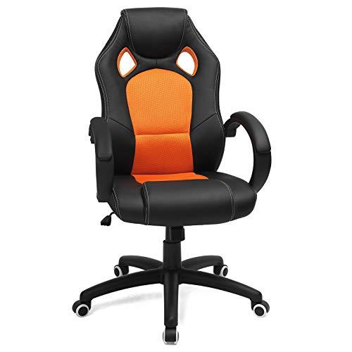 SONGMICS Racing Stuhl Bürostuhl Gaming Stuhl Chefsessel Drehstuhl PU Schwarz-Orange OBG56BO