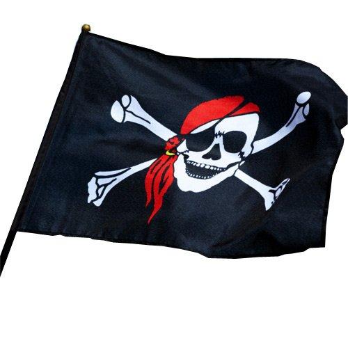 DRAPEAU PIRATE AVEC TIBIAS ET BANDANA ROUGE SUR BAGUETTE EN PLASTIQUE 30 X 45 CM ai55590 DECORATION DECO AIRSOFT FLAG