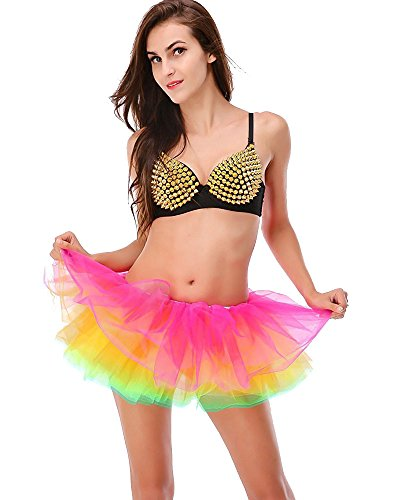 tu Skirts Damen Klassische Retro 8 Lagen Tüll Cosplay Kostüm Ballett Tanz Tutu Rock für Fasching Karneval Kostüm (EU 32-42, Regenbogen) ()