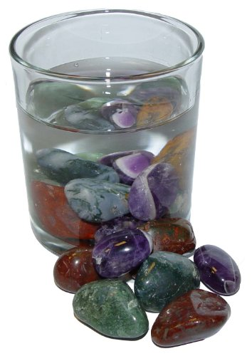 Preisvergleich Produktbild Edelsteinwasser Wassersteine Mischung BALANCE zur Wasseraufbereitung Set aus Amethyst / Moosachat / Jaspis.(2039)