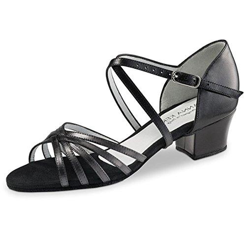 Anna Kern - Femmes Chaussures de Danse 581-35 - Cuir Noir - 3,5 cm Noir