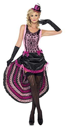 Kostüm Burlesque Cabaret - Smiffys, Damen Burlesque Schönheit Kostüm, Kleid mit Tunnelzugleinen-Rock und Schleifen-Verzierung, Größe: S, 22425