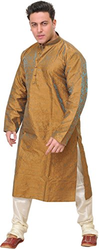 Exotic India Wedding Kurta Pyjama Set with All-Over Woven Floral Motifs in...