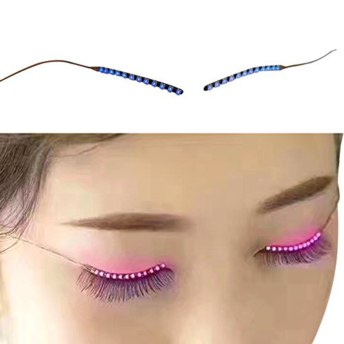 Olize Led Eyelashes Acoustic Control Luminous Light Music Sound Control Shining LED Lashes eyelid lights 12 Change Mode for Holiday Party Club