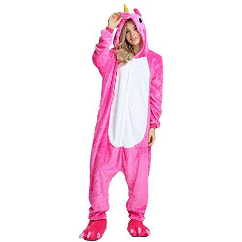 Onesie Jumpsuits für Damen Herren Kinder Weiches Flanell Schlafanzug Cosplay Kostüme Größe von 90 cm bis 180 cm (Empfohlene Höhe S ( 140cm - 150cm ), Einhorn Rose Rot) (Diy Halloween Kostüme Damen)