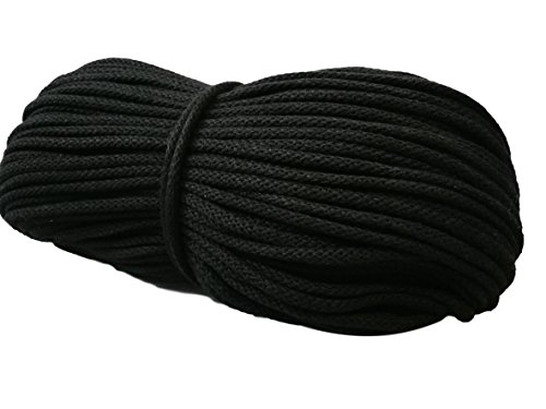 Kordel Garn Baumwollkordel Baumwollschnur Baumwollgarn Schnur 5mm für makramee BW-Kordel (Schwarz 50 Meter)