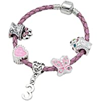 Children's Pink Leather Happy 3rd Birthday Charm Bracelet With Lovely Jewellery Hut Gift Pouch - Girl's & Children's Birthday Gift Jewellery