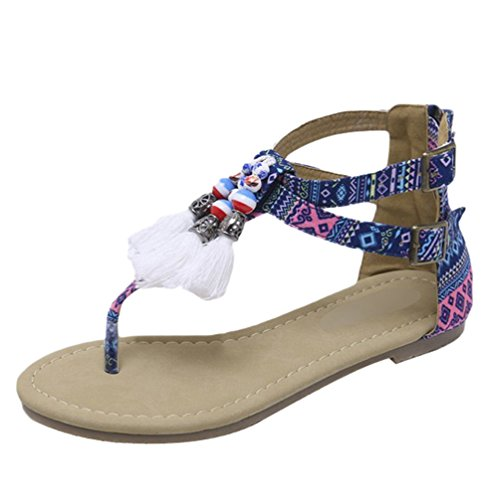 Lvraoo donne sandali dolci infradito con perline etnico sandali boho con nappe scarpe da spiaggia estive (blu, asia 35)
