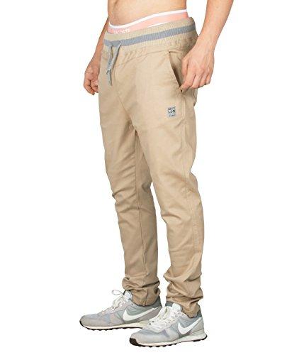 BetterStylz antoniobz Chino Jogger joggingpants Harem stile pantaloni sportivi fitness trainer in vari colori (S-XXL) Sand Beige/Grau X-Large