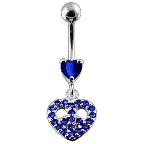 Bijou de nombril Coeur pierres fantaisies Multi cristal pendant Argent Sterling 925 avec Banane 14Gx3/8(1.6x10MM) en acier chirurgical 316L et boule 5mm. Dark Blue