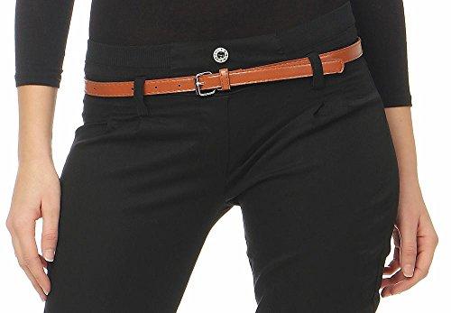malito Chino-Pantaloni con Cintura di similpelle Pantaloni Pump Tubo Casuale Base 5396 Donna Nero