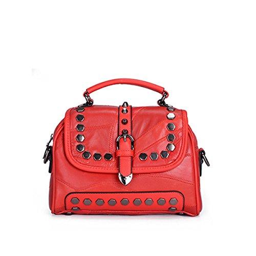 Frauen Schultertasche Nähen Nieten Einfach Umhängetasche Shopping Dating Mode Mädchen Kosmetiktasche,Red-OneSize