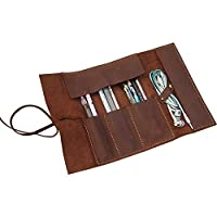QEES Leather Pencil Roll Case Pen Wrap Storage Bag as Perfect Gift for Students Writers and Artists GJB07 (Brown) (Brown)
