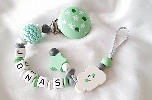 Baby Schnullerkette für Jungen mit Wunschnamen - Kinder - Geschenk zur Geburt, Taufe, Babyparty - (Wolke, Sterne, Mint, Weiß)