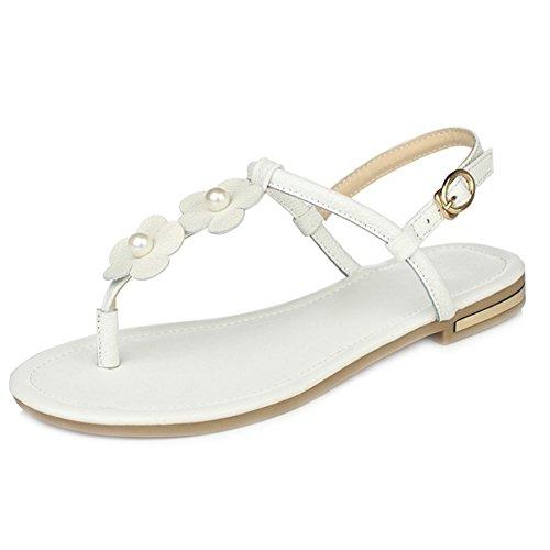 RizaBina Femmes Mode Plates Clip Toe Slingback Fleur Sandales De Boucle Blanc