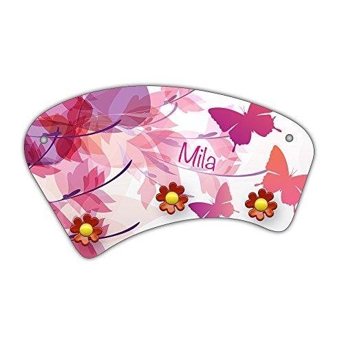 Wand-Garderobe mit Namen Mila und schönem Schmetterling-Motiv für Mädchen - Garderobe für Kinder - Wandgarderobe