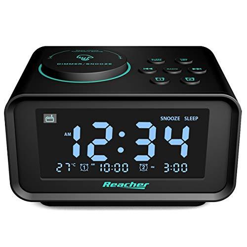 Reacher Radio Réveil avec Double Alarme,Radio FM Numérique Thermomètre Intérieur LCD Affichage...