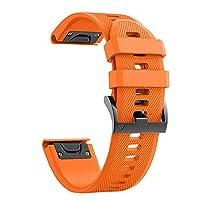 Garmin Watch Band 26mm Soft Silicone Watch Strap, Fenix 5X/Fenix 5X Plus/Fenix 3/Fenix 3 HR by Artio (Orange)