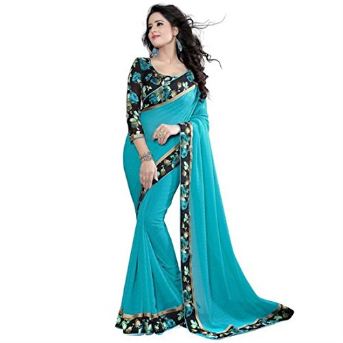 The Shopoholic Georgette Saree With Blouse Piece (Beauty Firozi_Blue_Free Size)