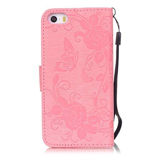 Mk Shop Limited Coque pour iPhone 5 5S,,PU Cuir Flip Magnétique Portefeuille Etui Housse de Protection Coque Étui Case Cover avec Stand Support pour Apple iPhone 5 5S, Multi-couleur 15