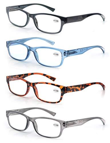 Un Pack de 4 Gafas de Lectura 1.75/Gafas para Presbicia Hombre Mujer,Buena Vision Ligeras Comodas,Vista de Cerca/Vista Cansada