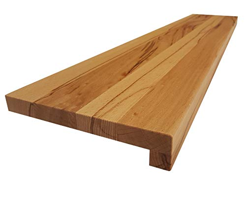 Holz-Projekt-Summer Fensterbank KERNBUCHE Massivholz Treppenstufe Fensterbrett Renovierungsstufe Trittstufe Maßanfertigung (25 x 100cm, Oberfläche unbehandelt)