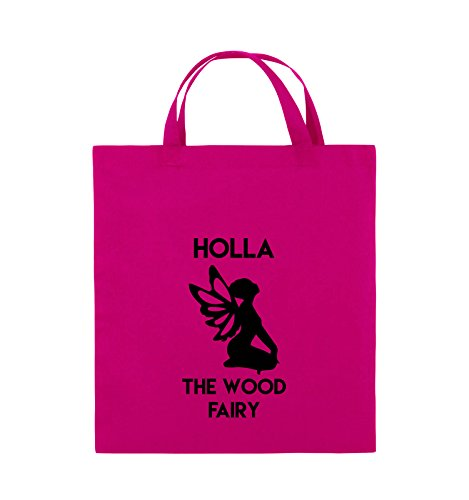Borse Da Commedia - Holla The Wood Fairy - Borsa In Juta - Manico Corto - 38x42cm - Colore: Nero / Bianco Rosa / Nero
