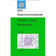 Ötztaler Alpen, Wildspitze: Skirouten - Topographische Karte 1:25000