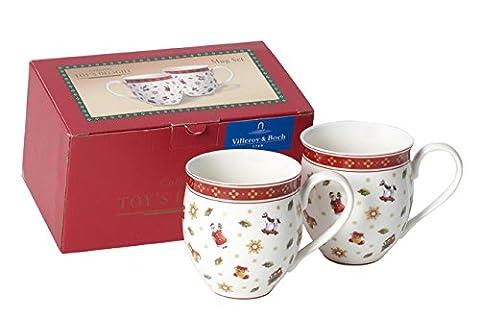Villeroy & Boch 1485858404 Becher, Porzellan, weiß / rot, 20.8 x 11.3 x 12.2 cm, 2 Einheiten