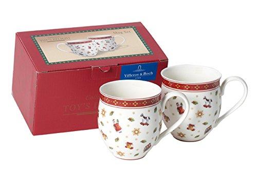 858404 Becher, Porzellan, weiß / rot, 20.8 x 11.3 x 12.2 cm, 2 Einheiten (Weihnachten Becher)