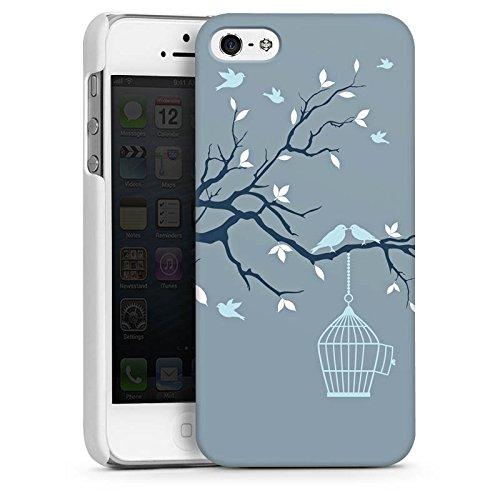 Apple iPhone 5s Housse étui coque protection Cage Oiseaux Feuilles CasDur blanc