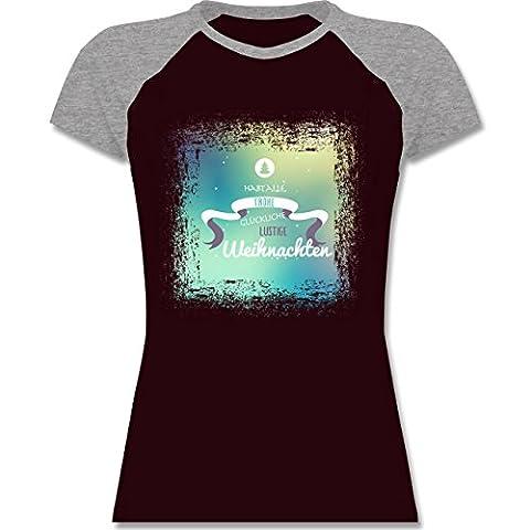 Weihnachten & Silvester - Frohe Weihnachten Bunt Vintage - L - Burgundrot/Grau meliert - L195 - zweifarbiges Baseballshirt / Raglan T-Shirt für