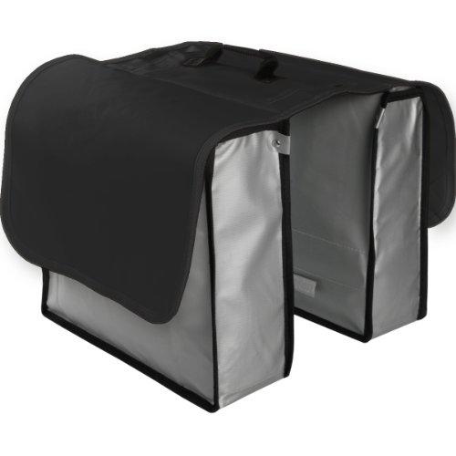 Fahrrad Gepäckträgertasche / Fahrradtasche aus Tarpaulin Lkw-Plane (Schwarz / Silber)