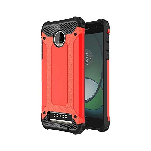 Guran® Hülle Für Lenovo Moto Z Play (5.5 Zoll), [Stoßfestes Etui] Raffinierte Kombination aus Rutschfestem TPU Zubehör mit Ganzkörper-Rugged Case (Rot)