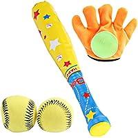 Toyvian 4 unids Béisbol Juguetes para niños Ocio Deportes Guante y Pelota Suave Conjunto de Juguetes para niños para niños niño niño