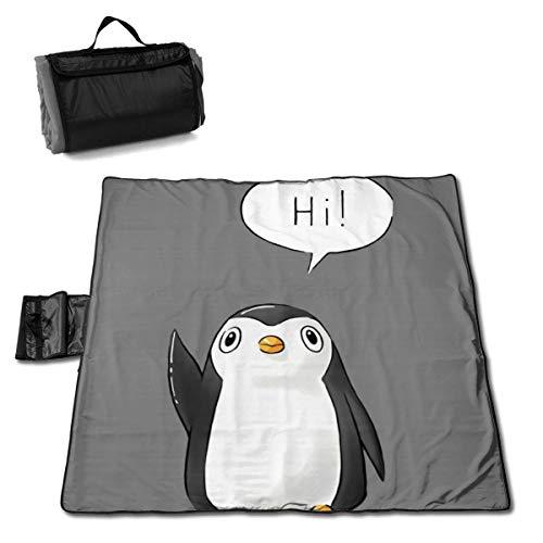 Hi Penguin Gray Portable Large Picnic Blanket 57