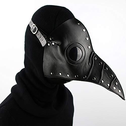 XBECO Pest Vogel Lange Mundmaske Prom Maske Halloween Maske Lange Nase Cosplay Steampunk Masquerade Requisiten Rolle Spielen Weihnachtliche Kostüme Requisiten,Black
