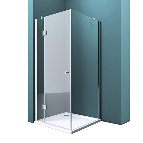 Duschabtrennung Klarglas 80x80, 8mm ESG-Sicherheitsglas, Duschwand aus Echtglas, Nanobeschichtung, Duschkabine Ravenna05k