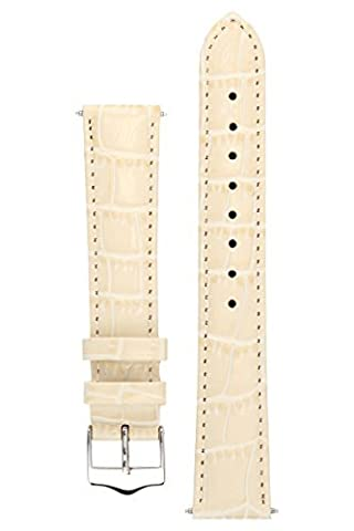 Signature Tropico in cream 18 mm watch band. Replacement watch strap. Genuine leather. Silver