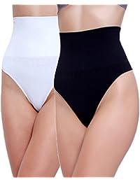 2 Unidades Libella Tanga String Body Faja Modeladora Reductora sin costuras para Mujeres 3601 Negro+Blanco S/M