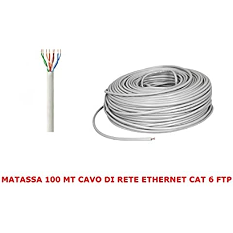 MATASSA 100 MT METRI CAVO DI RETE FTP CAT 6 LAN ETHERNET M BOBINA INTERNET ADSL PLUG MODEM ROUTER ACCESS POINT REAPETER