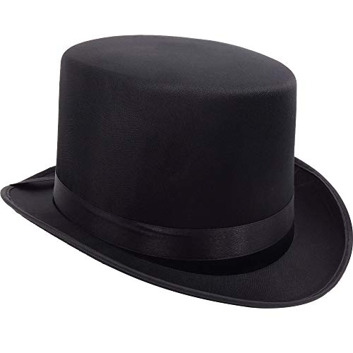 German Trendseller® - Satin Zylinder - Hut ┃ Schwarz - Deluxe ┃ Eleganter Herrenhut ┃ Chapeau┃ Party ┃ Fasching ┃ Karneval